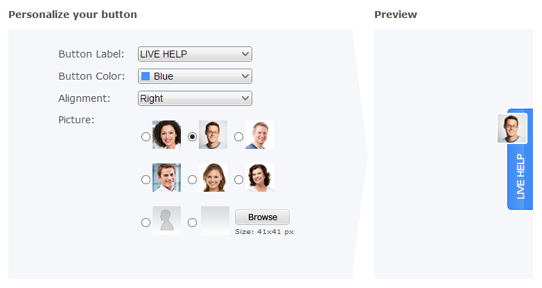 Live Chat Buttons with Agent Pictures