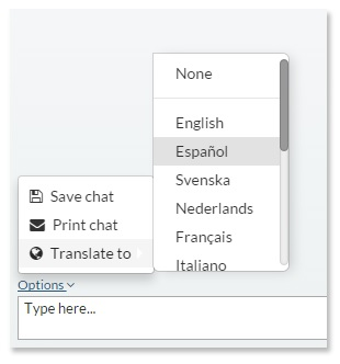 VeriShow's chat options menu