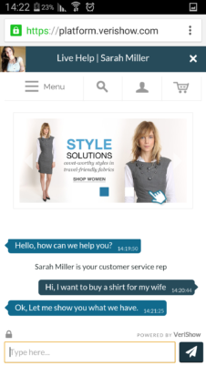 Customer view: customer and agent are chatting and co-browsing the website in real-time